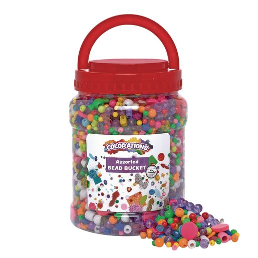 Image of Colorations Assorted Bead Bucket, 2.5lb, approx 3500 Beads