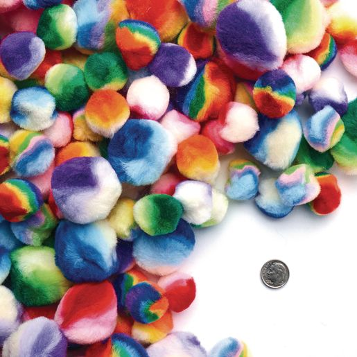 Colorations® Rainbow Striped Pom-Poms - 200 Pieces