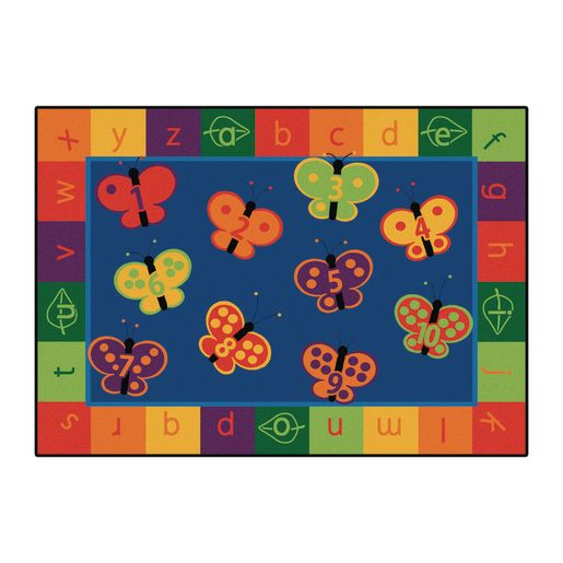 123 ABC Butterflies 6' x 9' Rectangle KIDSoft Premium Carpet