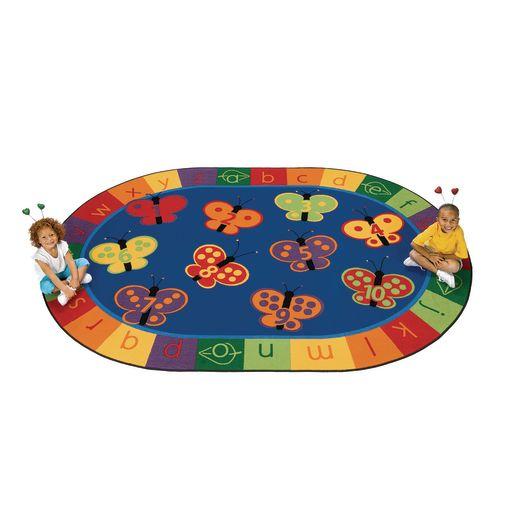 123 ABC Butterflies 8' x 12' Oval KIDSoft Premium Carpet