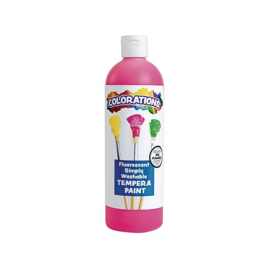 Image of Colorations Simply Washable Tempera Paint, Fluorescent Pink - 16 oz.