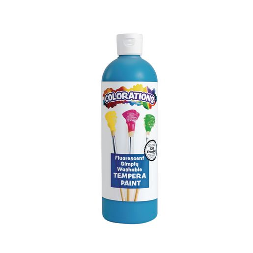 Image of Colorations Simply Washable Tempera Paint, Fluorescent Blue - 16 oz.