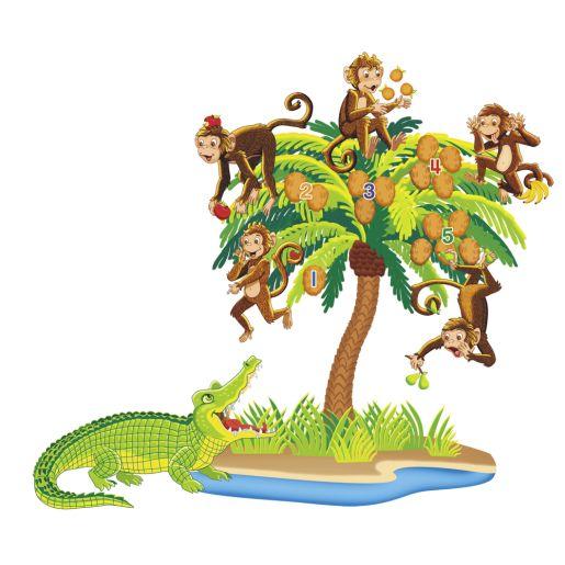 Five Monkeys Sitting in the Tree Felt Set