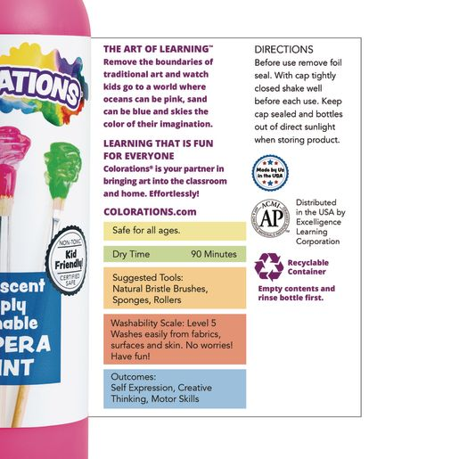 Colorations® Fluorescent Simply Washable Tempera Paint - 16 oz.