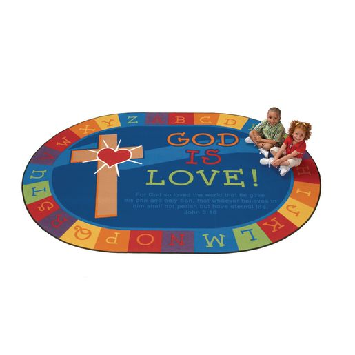 God Is Love 8' x 12' Oval Kids Value PLUS Carpet