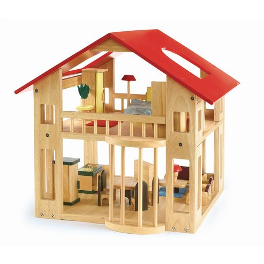Excellerations® Wooden Deluxe Dollhouse - 28 Pieces