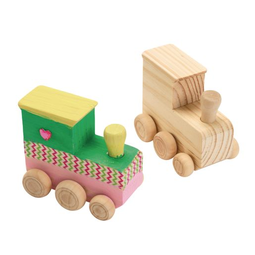Image of Colorations Decorate Your Own Wooden Trains - Set of 12