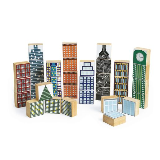 Image of Excellerations Wooden Skyscraper Blocks - 35 Pieces