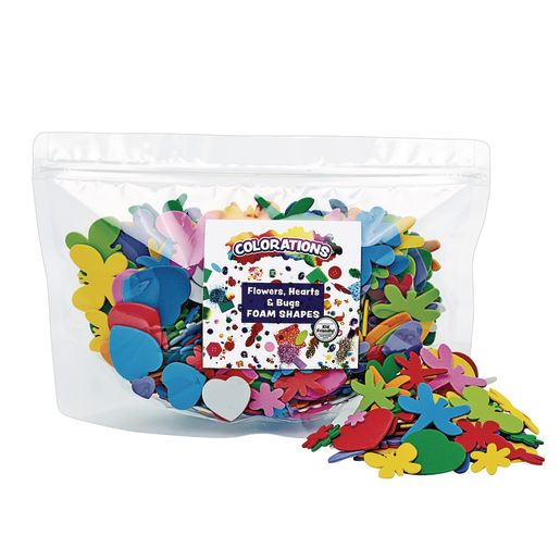 Colorations® Flowers, Hearts & Bug Foam Shapes - 500 Pieces_0