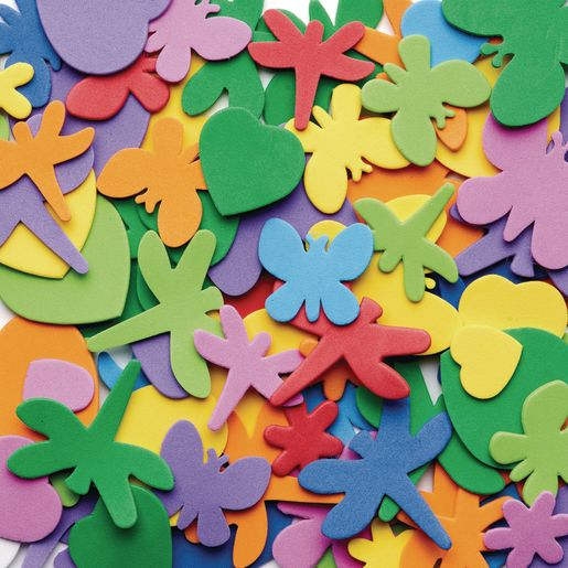 Colorations® Flowers, Hearts & Bug Foam Shapes - 500 Pieces_1