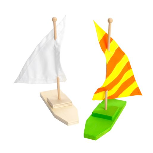 Image of Colorations Wooden Sailboats - Set of 12