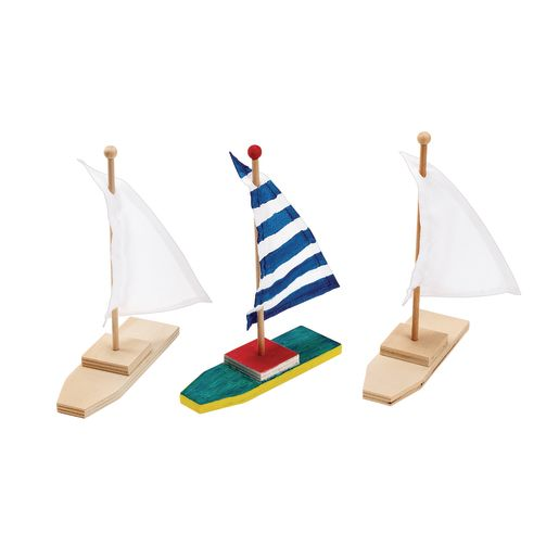 Colorations® Wooden Sailboats - Set of 12
