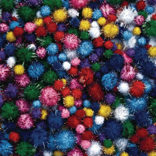 Image of Colorations Glitter Pom-Poms - 300 Pieces