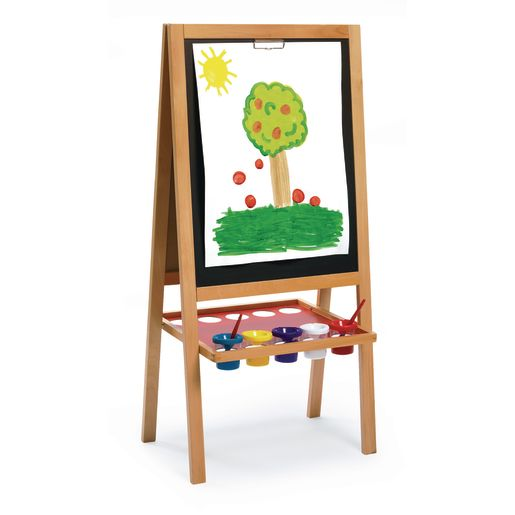 Image of Colorations Premium Free Standing Art Easel with Magnetic Dry Erase & Chalkboard