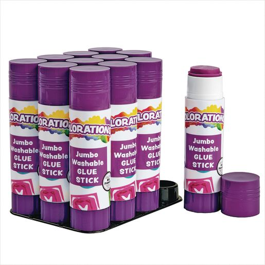 Image of Colorations Jumbo Washable Purple Glue Sticks, Set of 12, 1.41 oz each