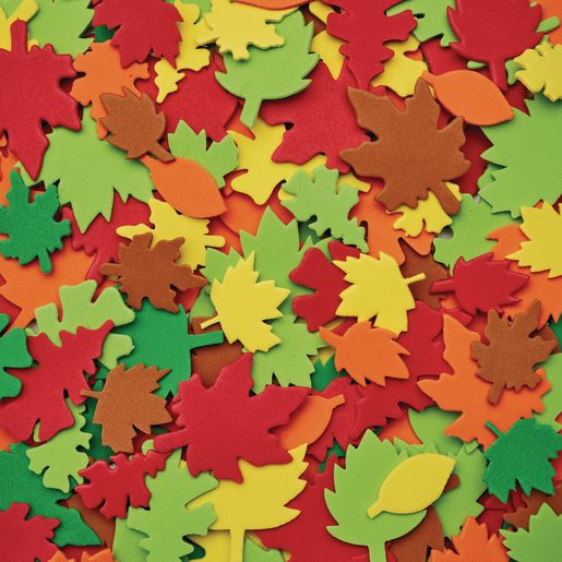 Image of Colorations Colorful Leaf Foam Shapes - 500 Pieces