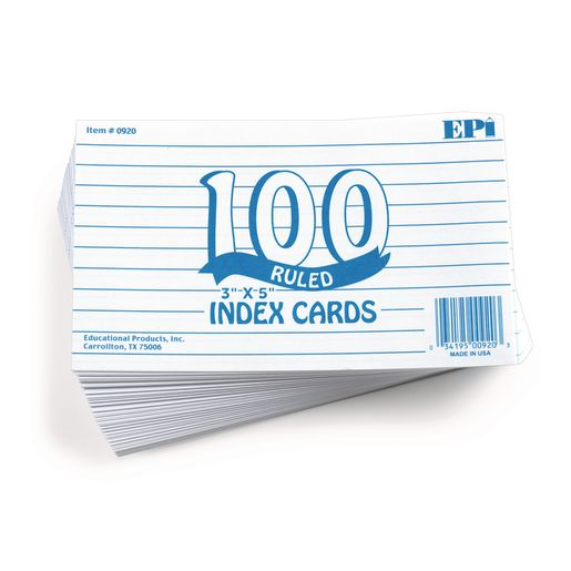 Ruled Index Cards - Pack of 100_0