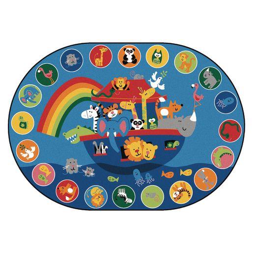 Image of Noah's Voyage Circletime 8' x 12' Oval Kids Value PLUS Carpet