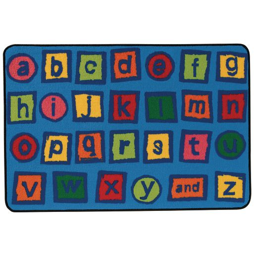 "Alphabet Blocks 3' x 4'6"" Rectangle Kids Value Carpet"