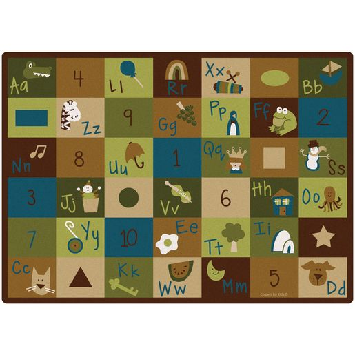 "Learning Blocks Nature 5'10"" x 8'4"" Rectangle Premium Carpet"
