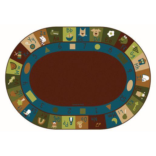 Image of Learning Blocks Nature 6' x 9' Oval Premium Carpet