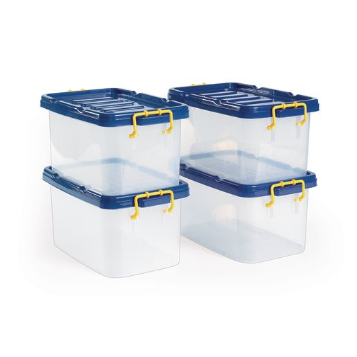 Clear Bins with Blue Lids  Set of 4