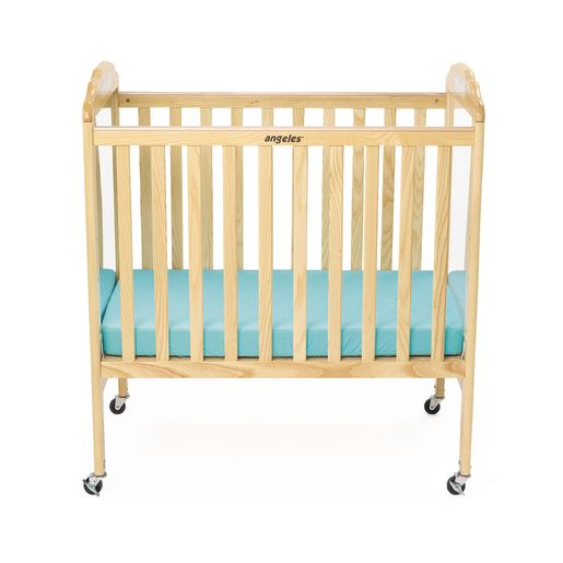 Angeles® Compact Adjustable Natural Crib w/Mirror & Clear Panel