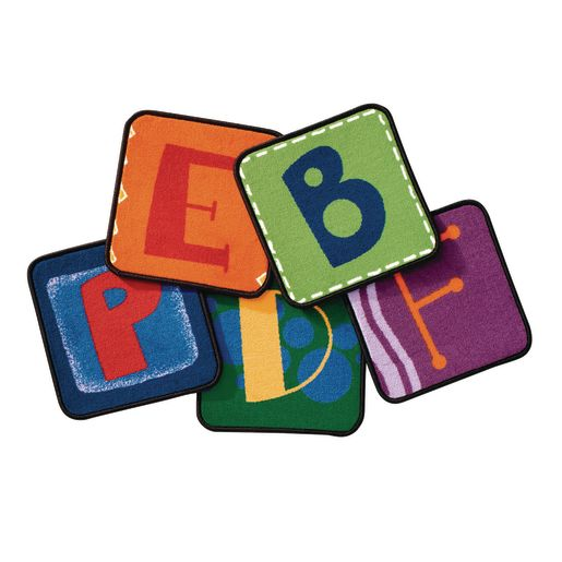 "Alphabet 14"" Blocks - Set of 26 Kids Value PLUS Carpet Squares"