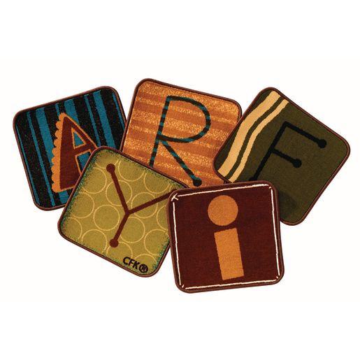 """Alphabet Nature 14"""" Blocks - Set of 26 Kids Value PLUS Carpet Squares"""