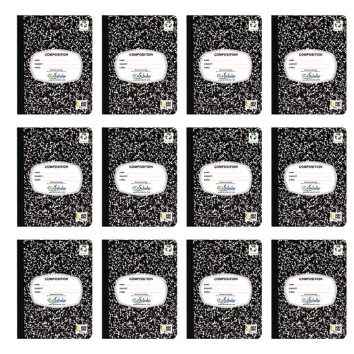 Writing Journal, 100 Sheets, Marble Black - Set of 12