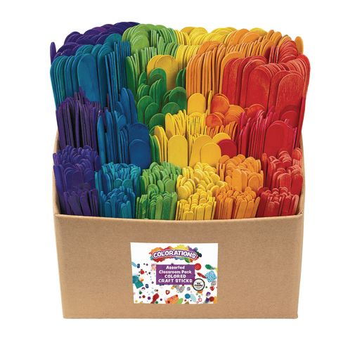 Image of Colorations Colored Craft Sticks Classroom Pack - 1,200 Pieces