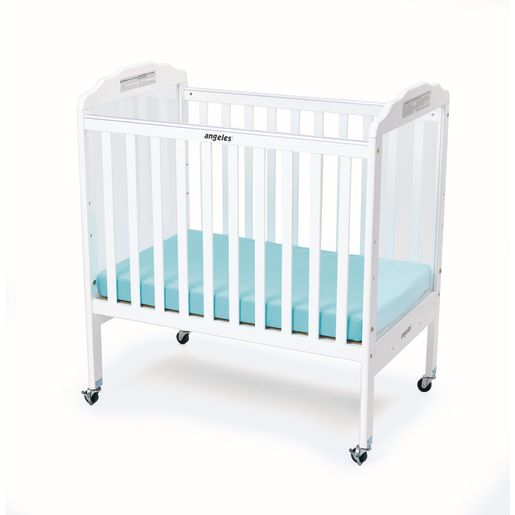 Angeles® Compact Adjustable White Hardwood Crib with Clear Panels