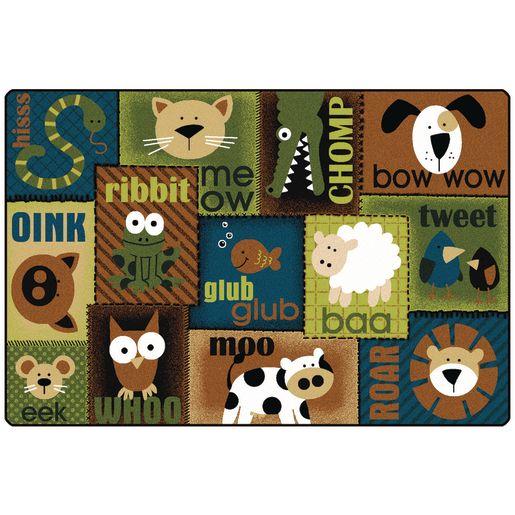 Animal Sounds Nature 4' x 6' Rectangle KIDSoft Premium Carpet