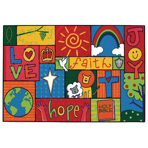 "Inspirational Patchwork 3' x 4'6"" Rectangle Kids Value Carpet"