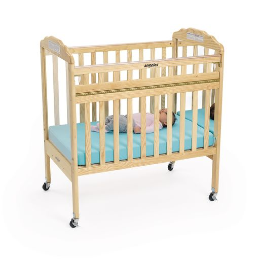 Angeles® Safe-T-Side® Crib - Natural, 1 Mirror Panel 1 Clear Panel