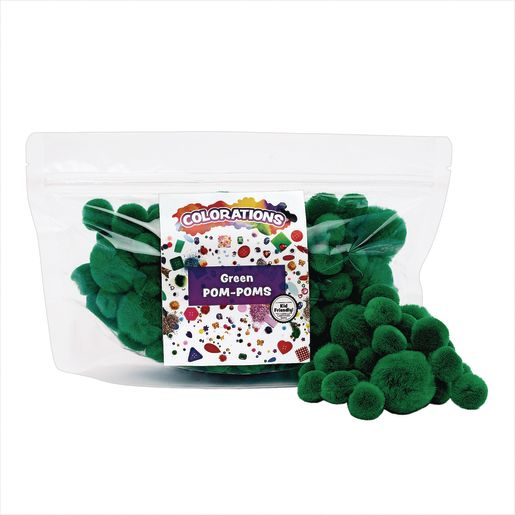 Colorations® Pom-Poms, Green - 100 Pieces