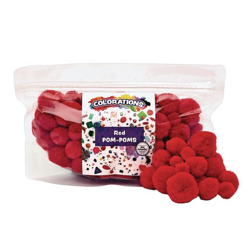 Colorations® Pom-Poms, Red - 100 Pieces