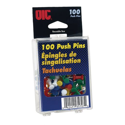 Officemate® Assorted Color Push Pins - 100 Pieces