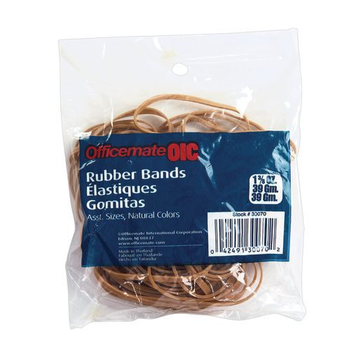 Officemate® Assorted Natural Rubber Bands