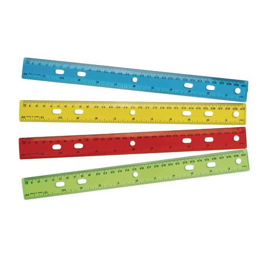 "12"" Standard & Metric Plastic Ruler - Set of 12"