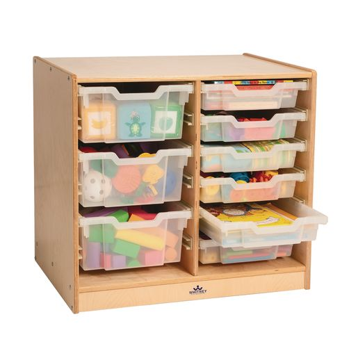 Image of Clear Tray Rolling Double Column Storage Cabinet