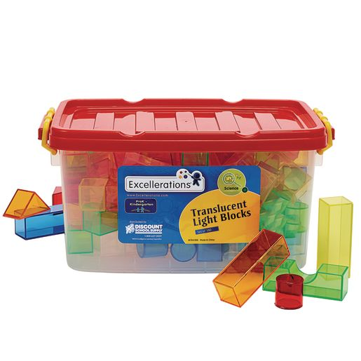 Excellerations® STEM Translucent Light Blocks - Set of 100 in a Bin