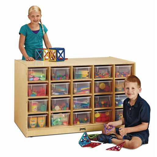 Jonti-Craft® Double-Sided Island - Single + 20 Cubbies with Colored Trays