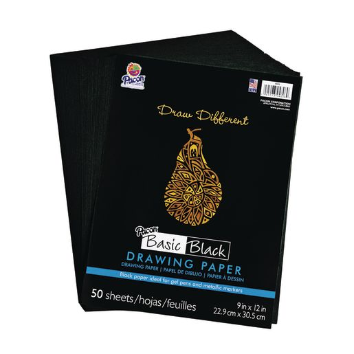 Black Drawing Paper - 50 Sheets