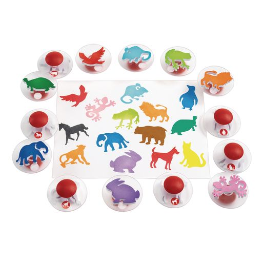 Image of Colorations Easy-Grip Stampers, Animals - Set of 14