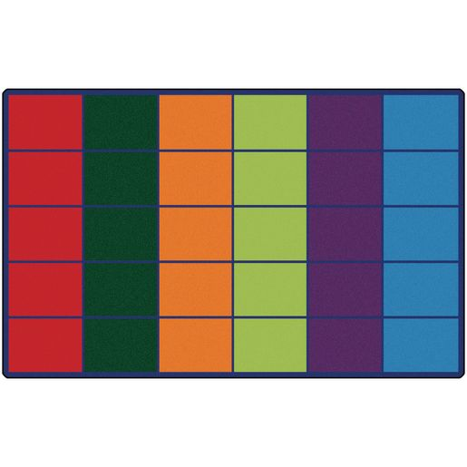 Image of Colorful Rows Seating 6' x 9' Rectangle Premium Carpet