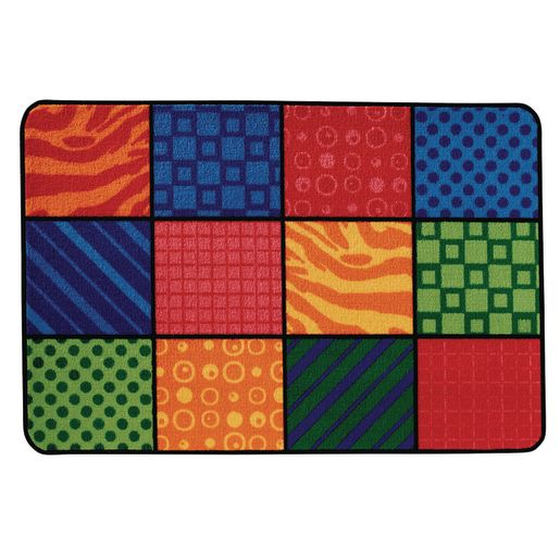 "Patterns at Play 3' x 4'6"" Rectangle Kids Value Carpet"