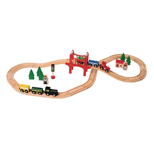 Image of Excellerations Wooden Track & Train Set - 40 Pieces