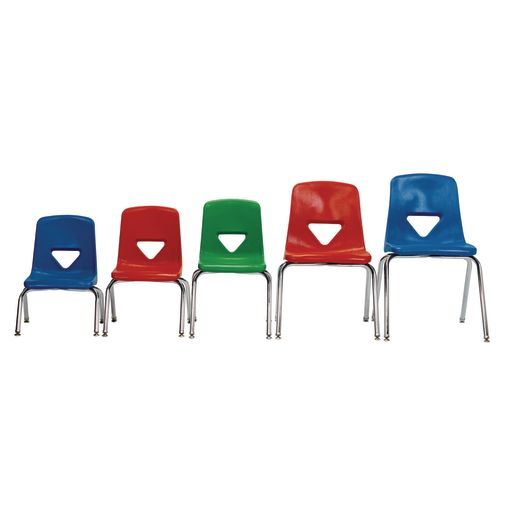 "Red 13-1/2"" Scholar Craft™ Stacking Chair with Chrome Legs"