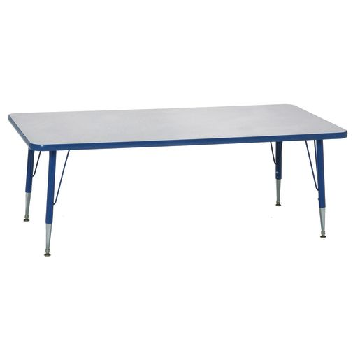"Blue 22-30""H, 24"" x 48"" Rectangle Scholar Craft™ Activity Table"